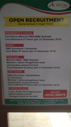 OPEN RECRUTMENT AGUNG SWALAYAN