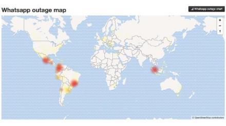 Peta Lokasi Facebook, Instagram, WhatsApp yang 'Down'
